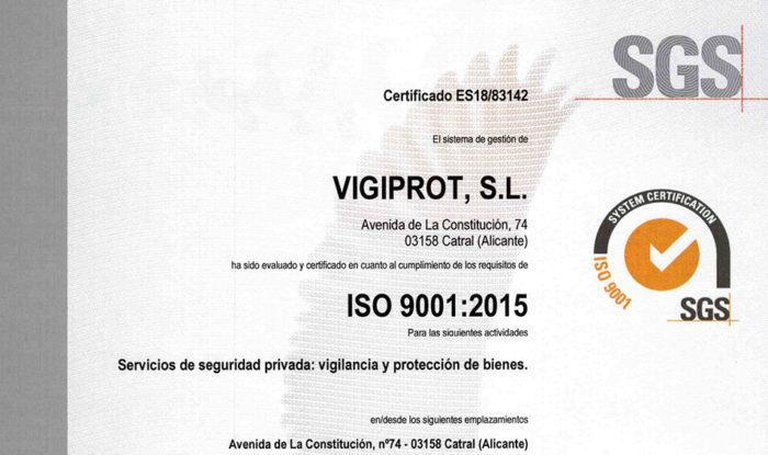 CERTIFICACIÓN ISO 9001, Vigiprot